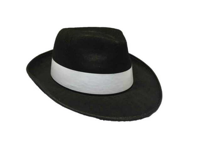 ADULT BLACK GANGSTER HAT FELT TRILBY FEDORA AL CAPONE FANCY DRESS MAFIA QR22 247046cad4a