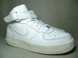 975bb0b2f7a NIKE AIR FORCE 1 MID Junior White Leather Casual Trainers UK 5.5  EU ...