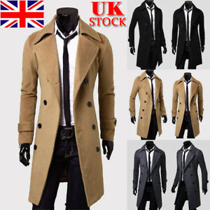 Men-Double-Breasted-Trench-Coat-Winter-Warm-Long-Jacket-Solid-Overcoat-Outwear
