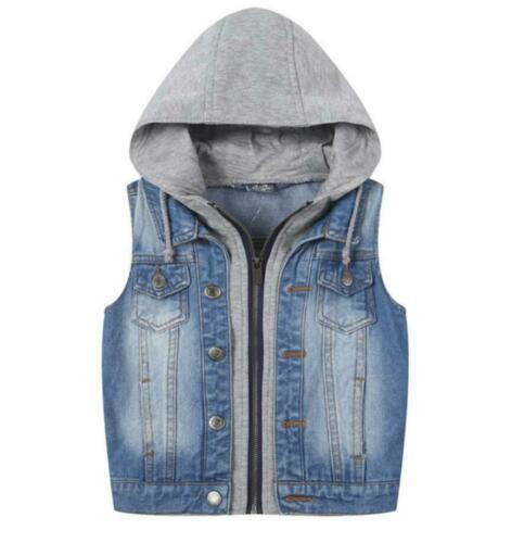 Kids Boys Girls Denim Sleeveless Jacket Hooded Jeans Vest Waistcoat Fashion New