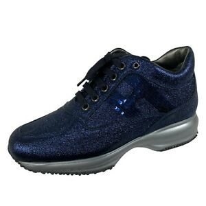 Details about E18 sneakers donna HOGAN INTERACTIVE metallic effect leather blue shoes women