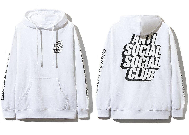 DS Anti Social Social Club ASSC blocked Weiß logo Block Me Weiß Hoodie in hand