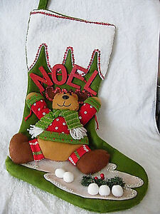 image is loading 20 034 nicely finished noel felt applique 3d - Moose Christmas Stocking