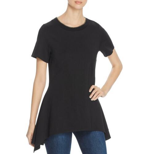 Donna Karan Womens Black Asymmetric Short Sleeve Tunic Top Shirt XXS BHFO 0337