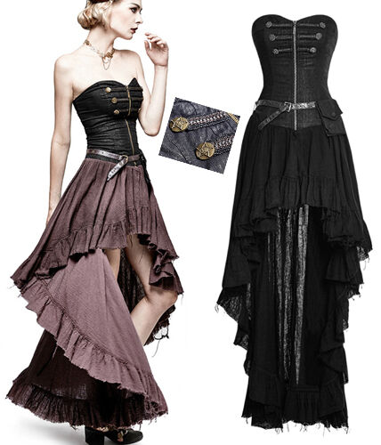 Robe  bustier gothique lolita steampunk neo victorien asymétrique traîne PunkRave  garantizado