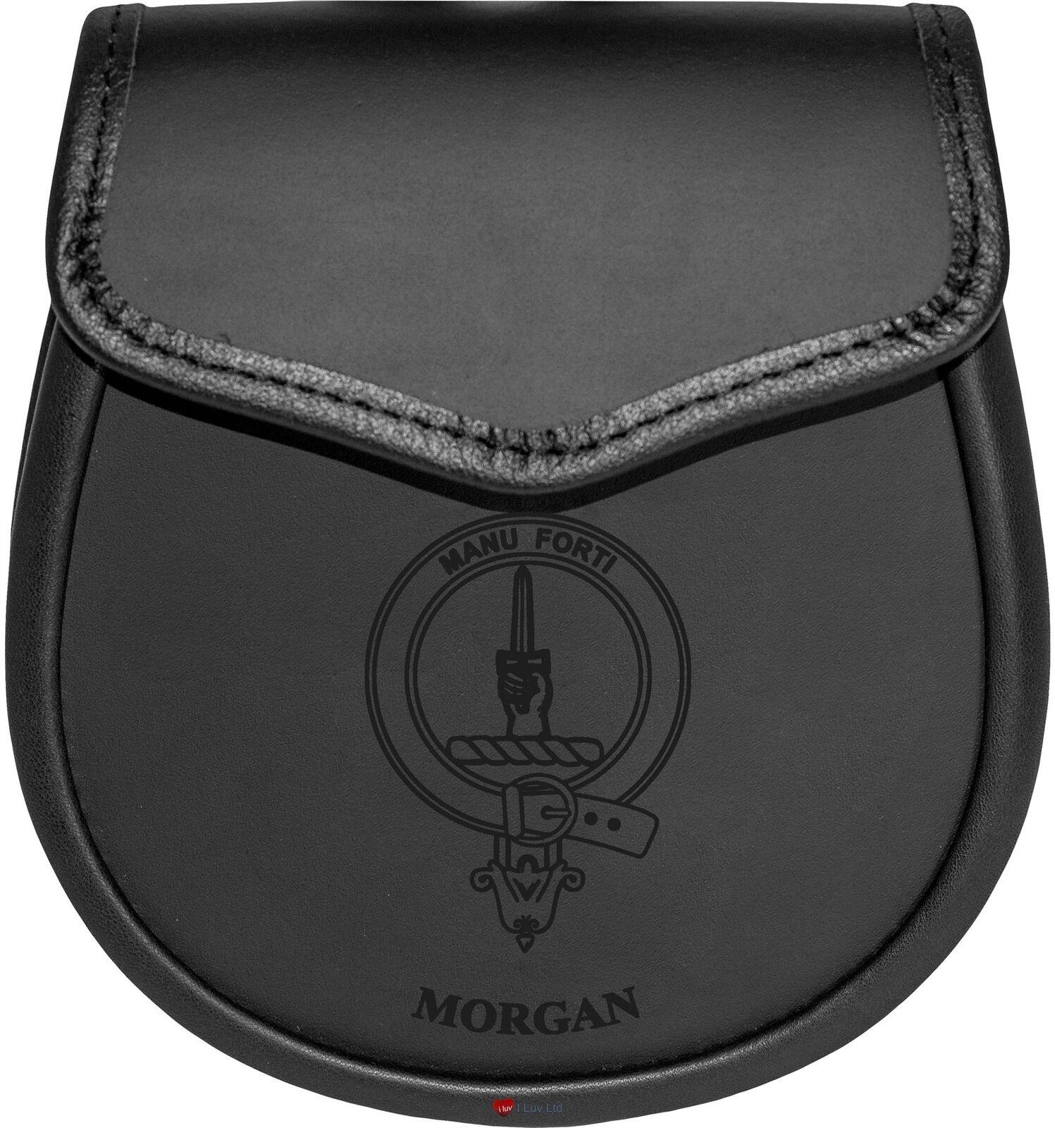 Morgan Leather Day Sporran Scottish Clan Crest