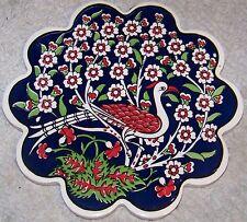"""Turkish 7"""" Iznik Tree of Life & Phoenix Pattern Ceramic Hot Plate Trivet Tile"""
