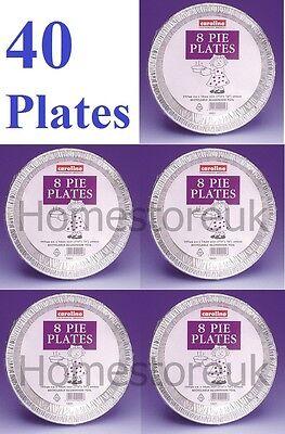 40 Aluminium Tin Foil Baking Pie Flan Dish Plate Disposable Party Tableware 1021 Eccellente (In) Qualità