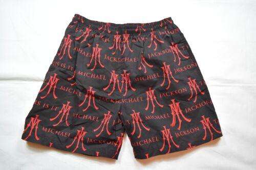 Michael Jackson con logo ricamato rosso MJ Pantaloncini Nuoto Spiaggia Nuovo Ufficiale Rara