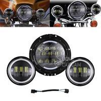 "7"" Led Bulb Daymaker Headlight + Passing Lights For Harley Davidson Road King"