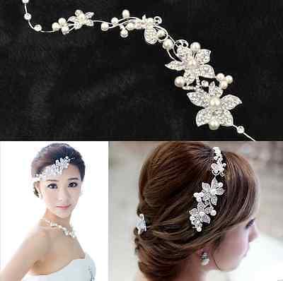 Crystal Fashion Beauty Pearl Flower Party Bridal Headband Tiara Headwear Silver