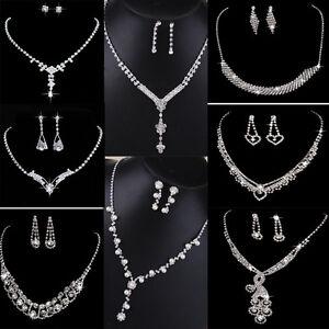 Crystal Pearl Necklace Earring Set Silver Bridal Bridesmaid Wedding