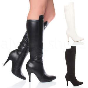 vari colori 84b5c 11dd1 Dettagli su Donna tacco alto festa a punta cerniera elastico stivali da  cavallerizza taglia