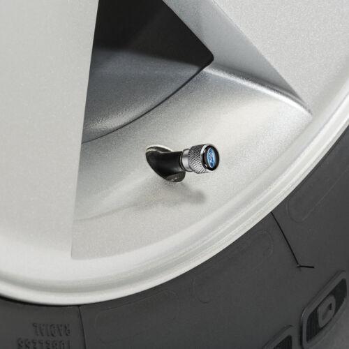 Ford Mustang Cobra in Black on Silver Chrome Aluminum Tire Valve Stem Caps
