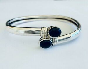 925-Sterling-Silver-Bangle-Bracelet-Black-Onyx-Gemstone-Open-End-Solid-Women