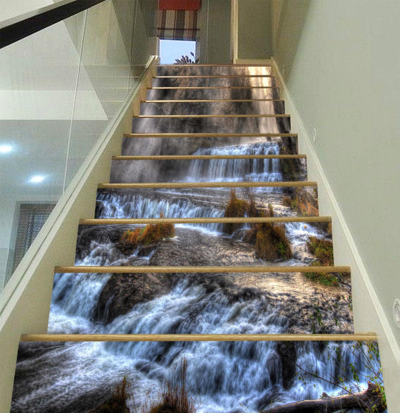 3D Groß Wasserfall 3Stair Risers Dekoration Fototapete Vinyl Aufkleber Tapete DE