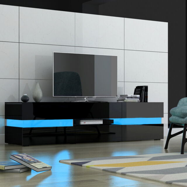 Ashford 130cm Wide White Gloss Wall Mounted Tv Unit Mains Led Lights Included For Sale Ebay