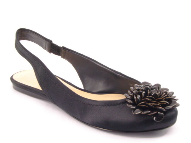 New NINE WEST Women Black Satin Fabric Flat  Embellished Slingback shoes Sz 7 M