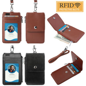 US-ID-Badge-Card-Holder-Pu-Leather-5-Slots-With-Neck-Strap-Lanyard-Necklace