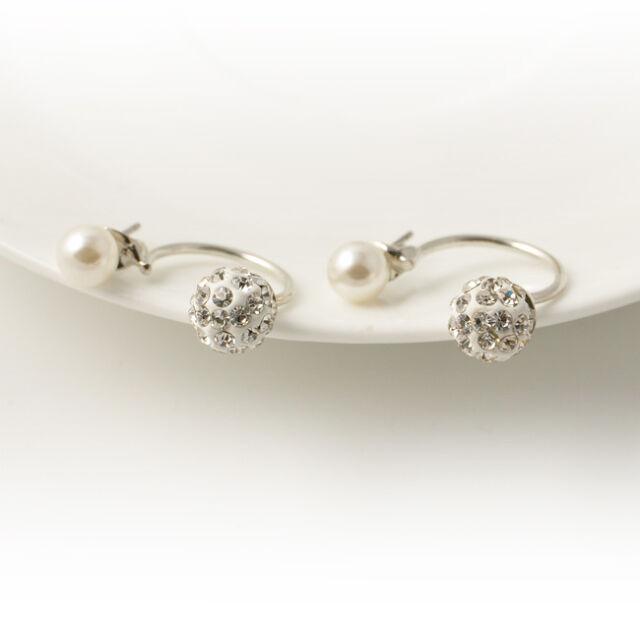 Fashion Women Crystal Rhinestone Pearl Ear Studs Earrings Girl Chic Jewelry Gift