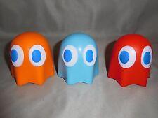 PAC-MAN GHOST STRESS BALL SQUISH TOY  NAMCO BANDI RED BLUE & ORANGE GHOSTS ALL 3