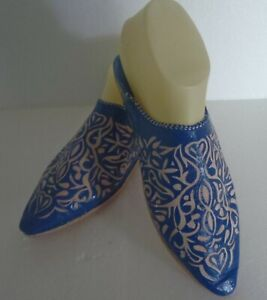 MOROCCAN-LEATHER-POINTED-BACKLESS-MULES-SLIPPERS-BLUE