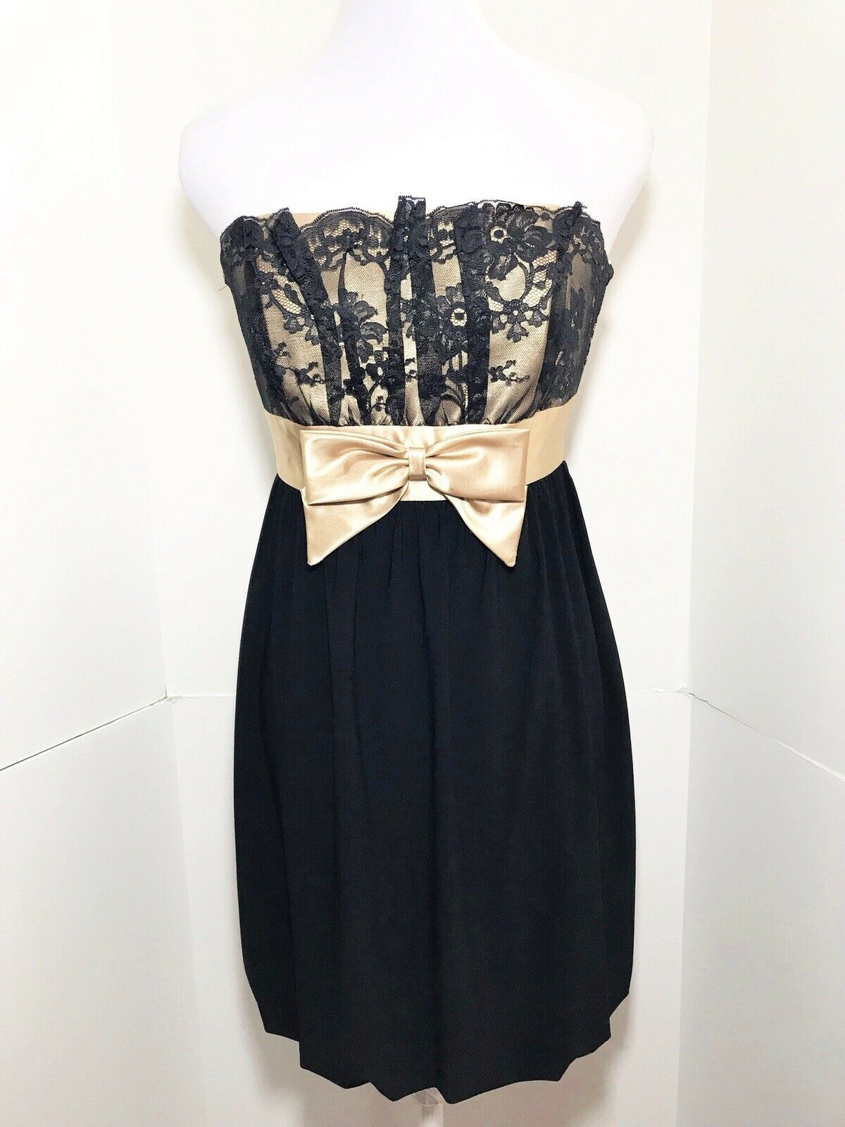 VTG 90's Gunne Sax Small 5 schwarz Floral Lace Mini Dress Gold Bow Strapless