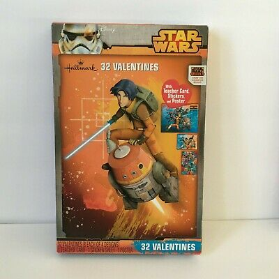 Disney Star Wars Rebels 32 Valentines with Stickers Teacher Card and Poster