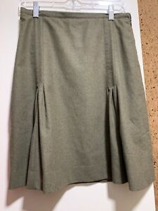 Burberry-London-Wool-Lined-Pleated-Knee-Length-Skirt-Military-Green-8