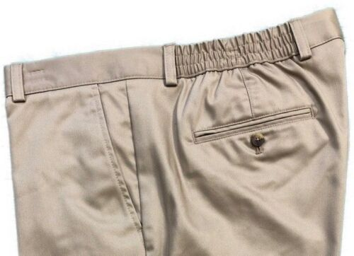 Roundtree /& Yorke Mens Classic Fit Flat Front Shorts S75HR111 Khaki Size 42 x 10