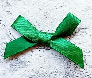 Bottle-Green-Small-Mini-Satin-Ribbon-Bows-Ready-Made-7mm-Wide-Art-amp-Craft-Sewing
