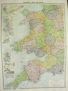 1920 LARGE MAP ~ ENGLAND WEST & WALES ~ CORNWALL LIVERPOOL ...