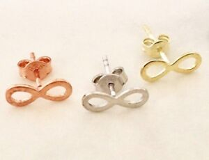 18K-Gold-Rose-Sterling-Silver-Infinity-Stud-Earrings-Luck-8-Girl-Women-Child-Men