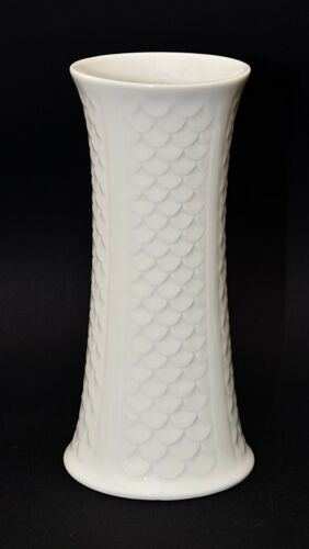 Vase Royal Bavaria Porzellan weiß Hochglanz Design Reptil Schuppen Optik
