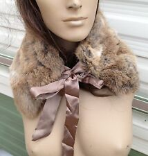natural brown beige camel real genuine rabbit fur pelt collar scarf satin lining