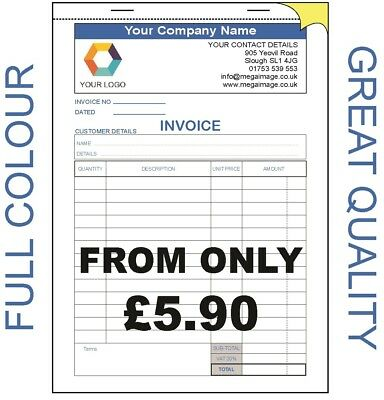 10 x PERSONALISED A5 NCR Inv//receipt  book 2 part
