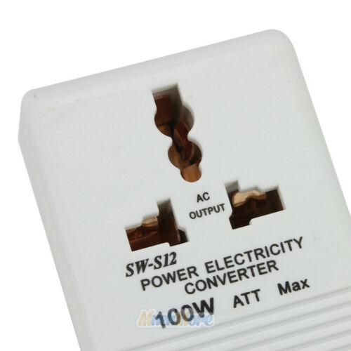 100W AC 110V//120V to 220V//240V Dual Voltage Transformer Power Converter White US