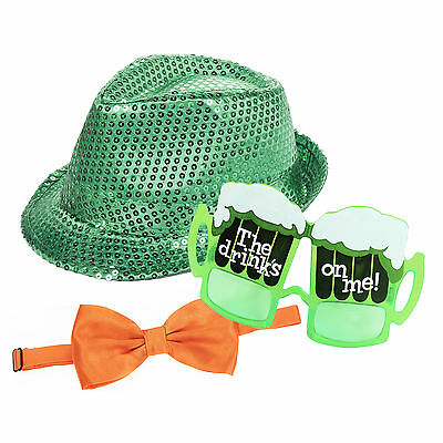 St Patrick's Day Green Sequin Fedora, Orange Bow Tie & Novelty Glasses