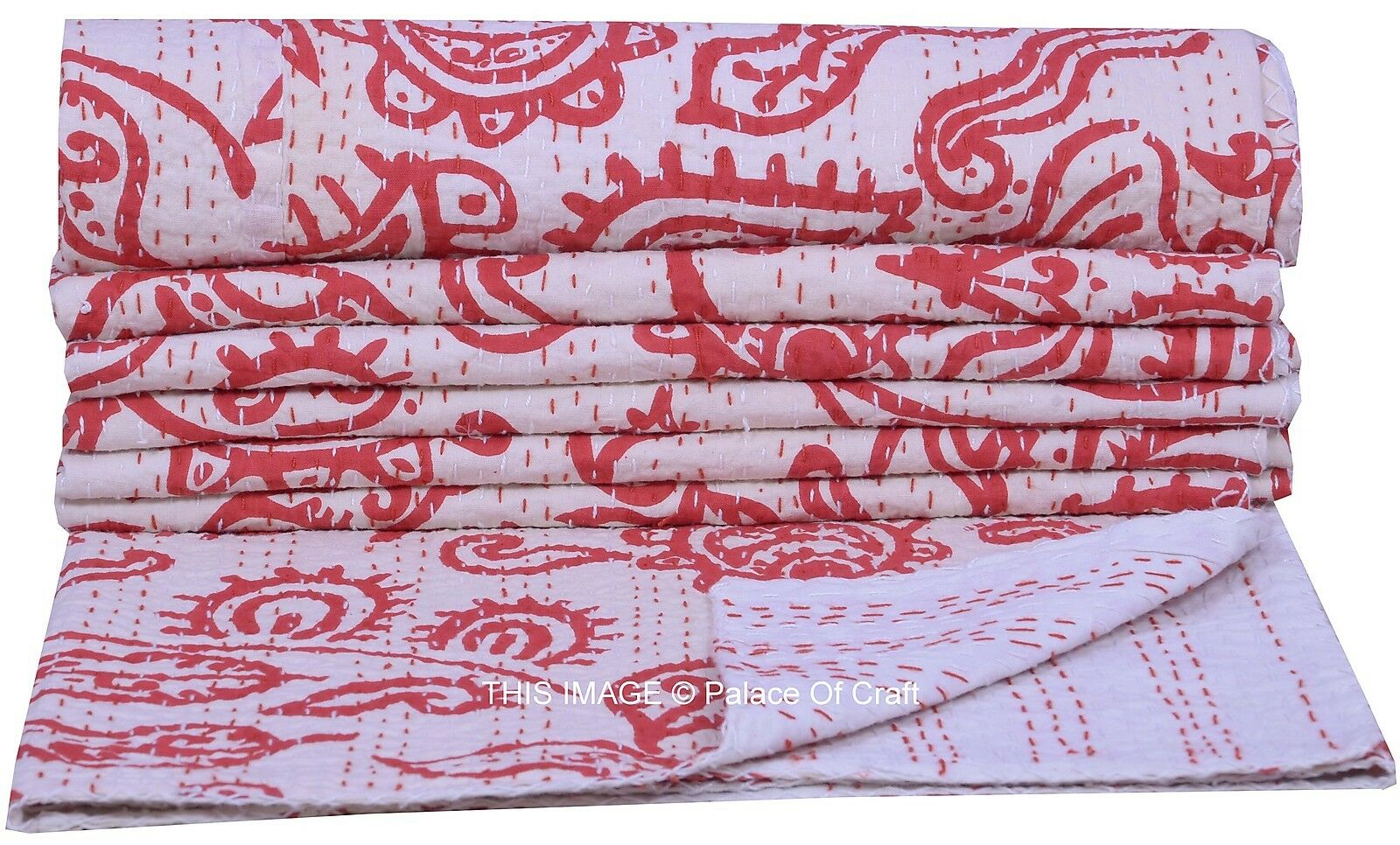 Cotton Handmade Floral Print White Gudari Bedding Decor Kantha Stitch Work India