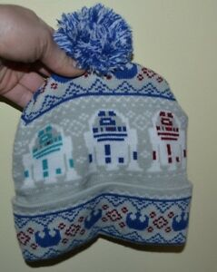 Star Wars R2D2 Ugly Sweater Pom Pom Hat Winter Adult One Size Fits ... aef99529ba3