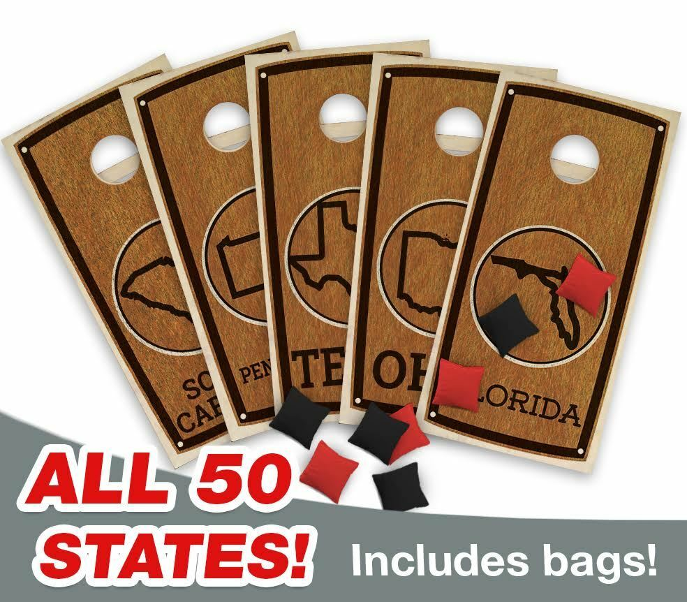 State STAINED  CORNHOLE BOARDS GAME SET Bean Bag Toss + 8 ACA Regulation Bags  fishional store for sale