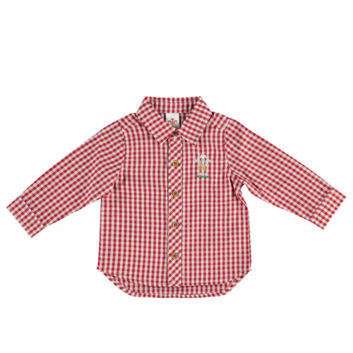 Welsh Rugby Check Shirt Long Sleeve White//Red Baby