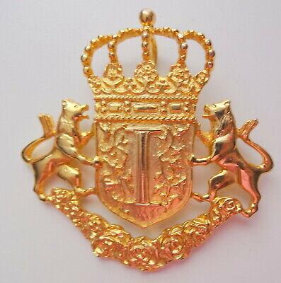 HERALDIC LION PIN or Brooch Art Deco Gold tone Vintage