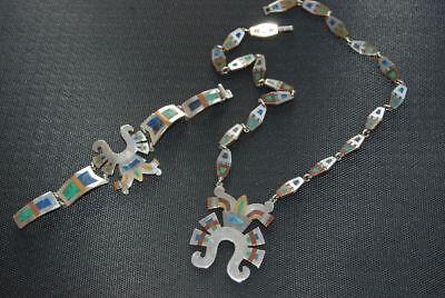 Mexiko Vintage Taxco Set Armreif + Collier 925 Silber Azurit Kupfer Messing