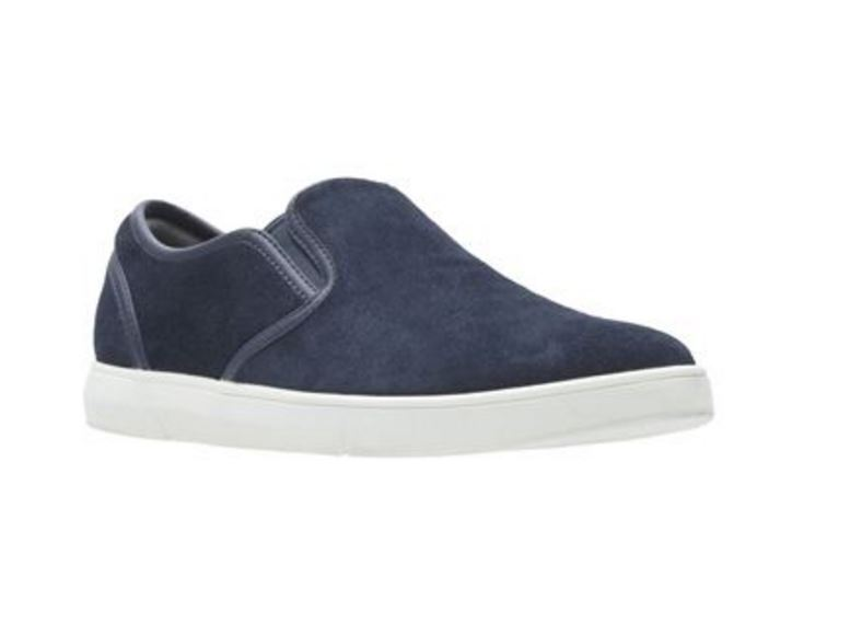 Men's shoes Clarks Lander Step Casual Suede Leather Slip Ons 23621 Navy New