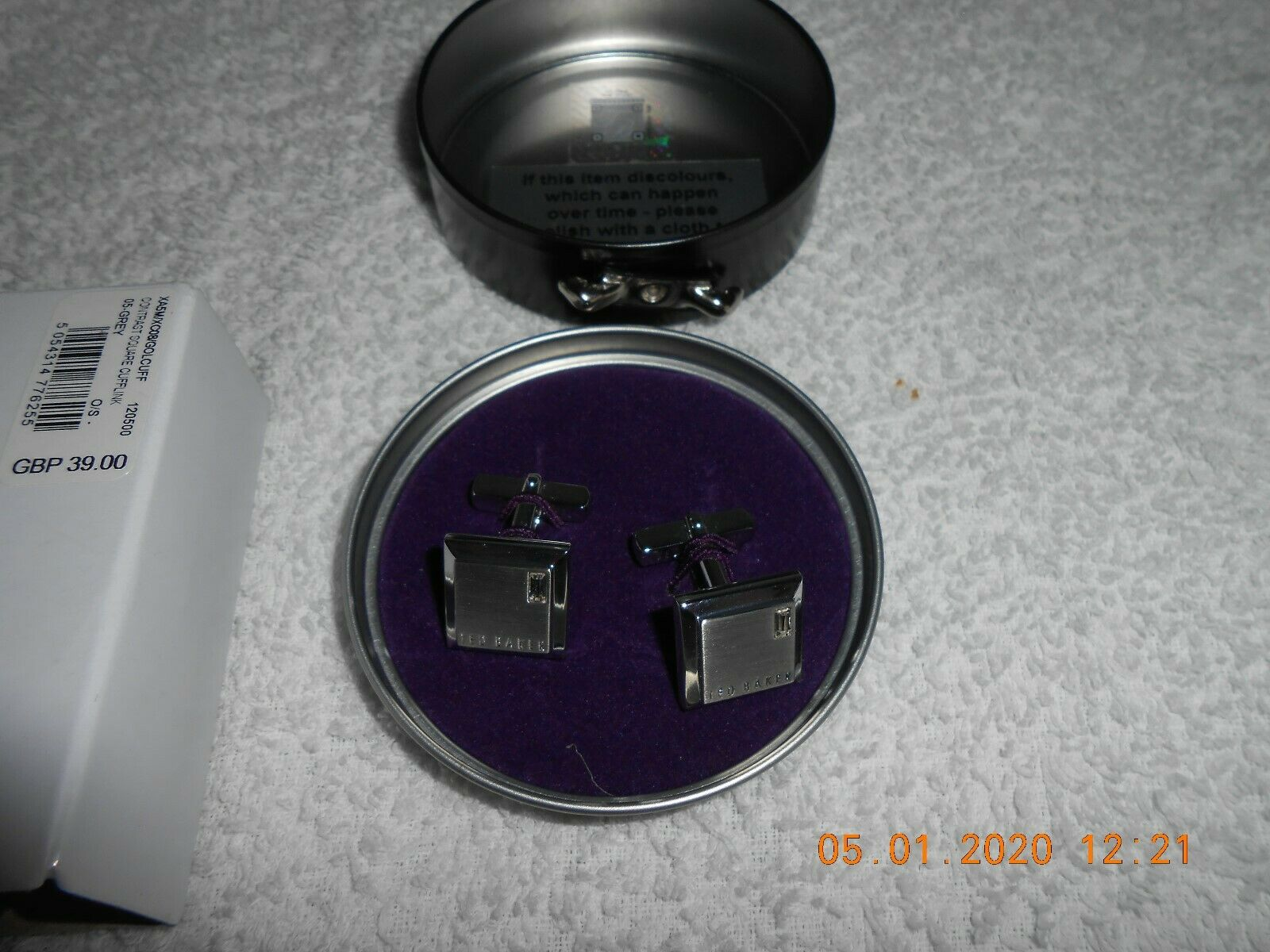 Ted Baker Golcuff Contrast Square Silver Cuff links BNWT RRP