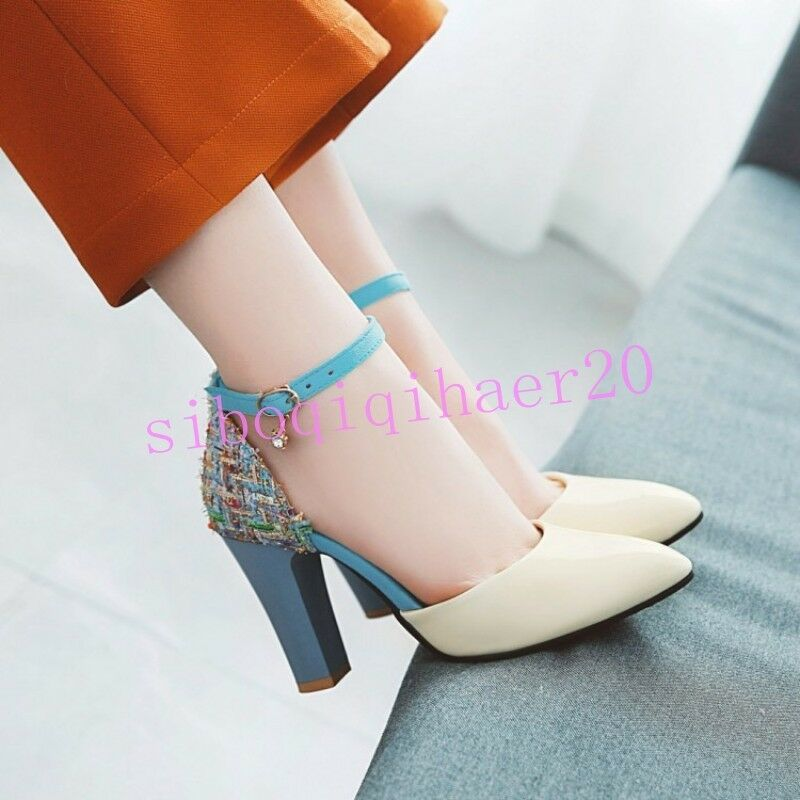 Casual Womens Pumps Dress shoes Multi color Pointy Toe Pumps High Chunky Heel sz