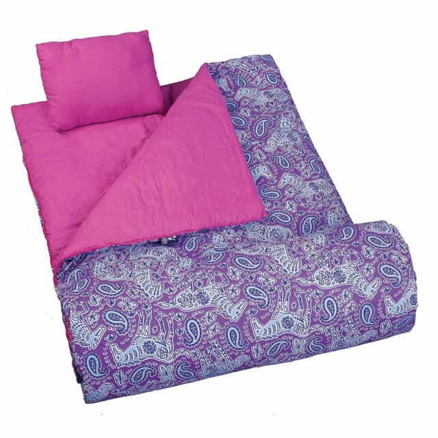 reputable site 2bd0f 03048 Girl Purple Sleeping Bag Horse Blanket Pillow Travel Camp Day Care Child  Paisley