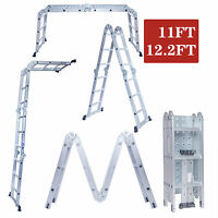 11ft 12.5ft Aluminum Folding Step Ladder Multi Purpose Scaffold Extendable