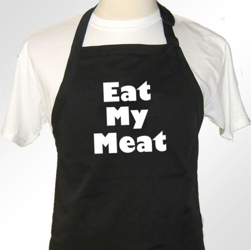 Eat My Meat funny novelty rude retro design apron in Black or White bib style